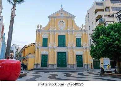 MACAO, CHINA - OCT 21 : Saint Dominic's Church is the beautiful historical building at Senado Square Macau, China on October 21 2017.