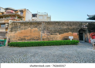 MACAO, CHINA - OCT 21 : The Section of the Old City Walls is rammed earth structure a part of military defensive network of old Macao on October 21 2017.