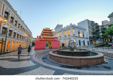 MACAO, CHINA - OCT 21 : The Senado Square is a paved town square a part of the UNESCO Historic Centre of World Heritage Site in early morning , Macao , China on October 21 2017.
