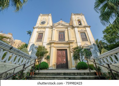 MACAO, CHINA - OCT 22 : The beautiful St. Lawrence's church in Macau on October 22 2017.
