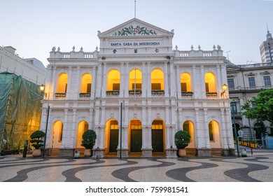 MACAO, CHINA - OCT 22 : Civic and Municipal Affairs Bureau in front of Senado Square is the old beautiful architecture in early morning, Macau on October 22 2017.