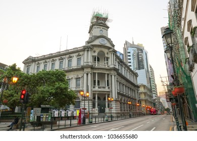MACAO, CHINA - OCT 22 : The Macau post office in front of Senado Square is the old beautiful architecture in early morning, Macau on October 22 2017.