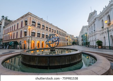 MACAO, CHINA - OCT 22 : The Senado Square is a paved town square a part of the UNESCO Historic Centre of World Heritage Site in Macao , China on October 22 2017.