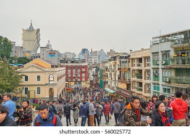 MACAO - CIRCA FEBRUARY, 2016: people in Macao at daytime. Macao is an autonomous territory on the western side of the Pearl River Delta in East Asia.