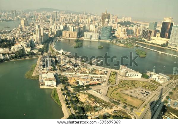 MACAO – CIRCA JANUARY 2017: Macao Downtown cityscape skyline view