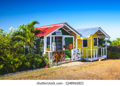 Macao, Dominican Republic - January 6, 2017: Facades of small wooden souvenir shops located on the top of Montana Redonda
