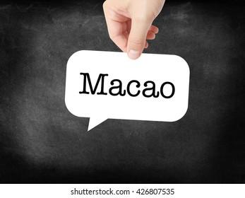 Macao written on a speechbubble