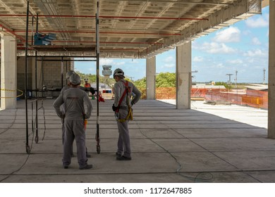 Macapa, Amapa, Brazil - June, 20, 2018: Large construction of a building in the center of the amazon