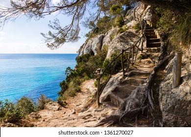Macarella beach in Menorca blue sky and sea
