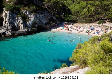 Macarelleta, Menorca / Spain - June 25, 2016: Cala Macarelleta beach and bay, Menorca, Balearic Islands, Spain