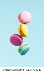 Macaron Biscuit. Colorful Macaroons Flying