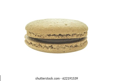 Macaron coffee flavour biscuit layers isolated