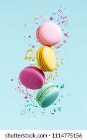 Macaron Dessert. Colorful Macaroons Flying