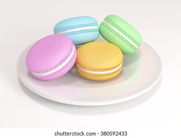 Macaron On a dish 3D rendering
