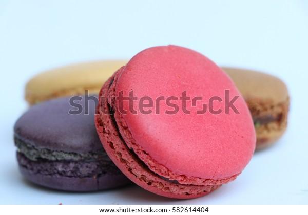 Macaron sweet candy on white background