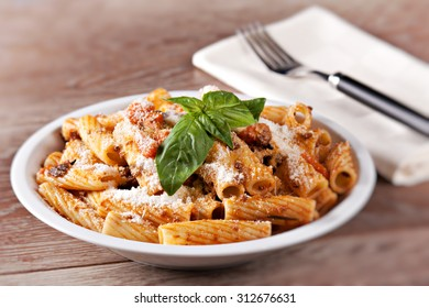 Macaroni Bolognese. Typical Italian dish.