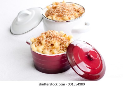 macaroni and cheese noodles in single serving size with breadcrumb topping
