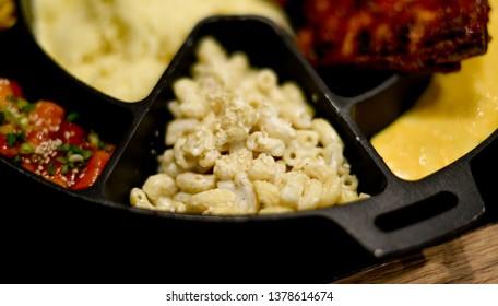 Macaroni in hot pan close up shot