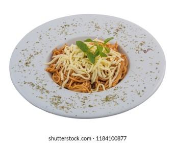 Macaroni with layered white background