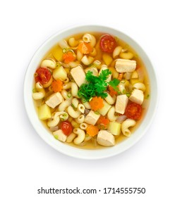 Macaroni Soup with Chicken,tomato,potato,carrots and onion Served as Breakfast, side dish or Maincorse goodtasty delicious decorate Coriander topview