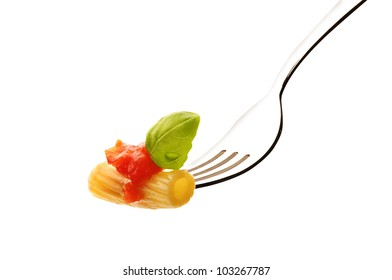 Macaroni with tomato sauce and basil on white background