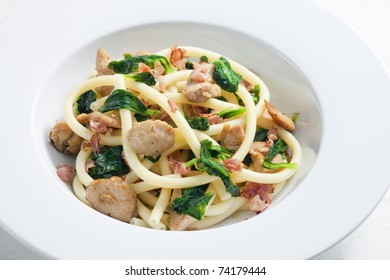macaroni with turkey meat and spinach