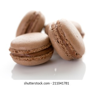 Macarons with chocolate flavor and filling