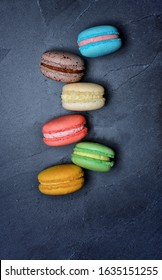 Macarons colorful almond French dessert