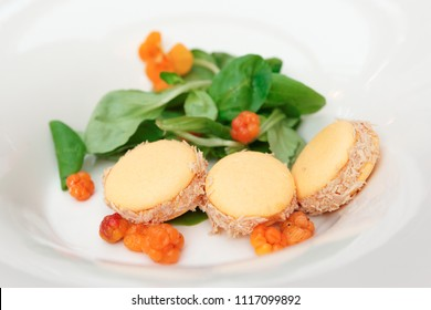 Macarons with foie gras and fenberry in plate, creative starter