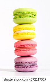 macarons are on top of each other, in the amount of 4 PCs