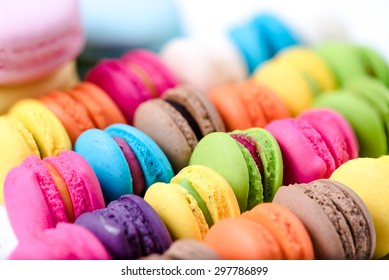 Macarons on white background