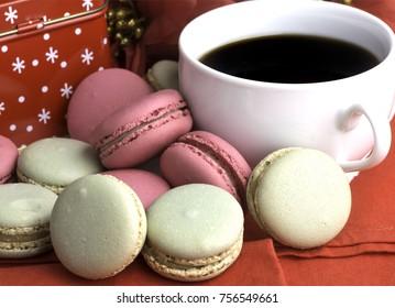 macaroon cookies and coffee
