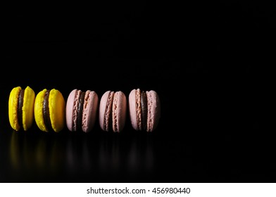 macaroon on a black background