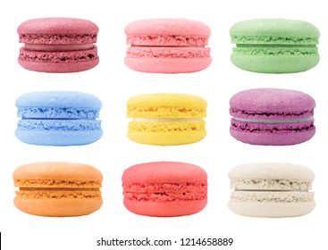 macaroons isolated on white background, clipping path, full depth of field