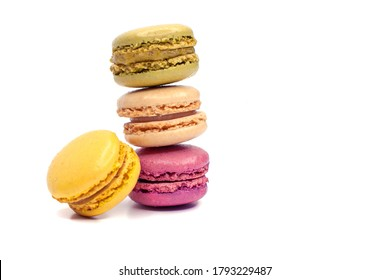Macaroons isolated on the white background.Homemade french style colorful macaroons (intentional selective depth of focus)