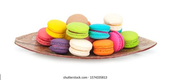 macaroons or macaron isolated on white background