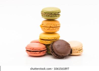 macaroons or macaron on white background isolated