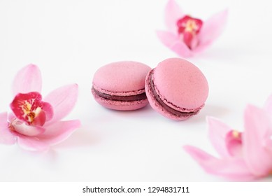 Macaroons with orchids around on a white background.