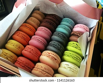 Macaroons rainbow box. Macaroons cookies any types of colour