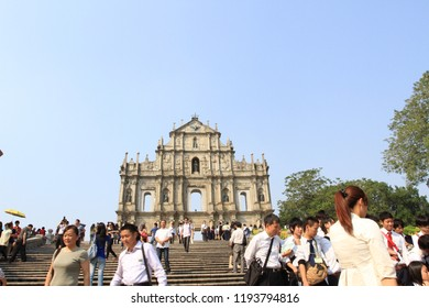 Macau 20 Oct 2011 - Historical building of ruin St Paul which belong to Macau's most famous landmark are visiting by million of traveler every year, this taken during summer holiday season