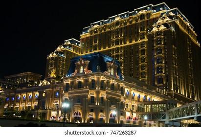 MACAU - APRIL 2: Facade of the Parisian casino on April 2, 2017 in Macau. Macau is famous for casino and luxury resorts.