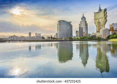 Macau - April 22, 2016: Landscape of Macau. In the distance is Grand Lisboa. Located in Lago Nam Van, Macau.