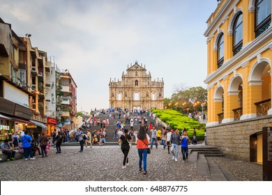 MACAU - APRIL 28 : St. Paul cathedral Ruin in Macau. this place is a popular tourist attraction of Macau. on April 28, 2017.