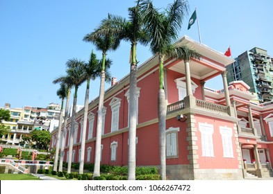MACAU, CHINA- 07 APR, 2018: Exterior view of Government Headquarters of the Macao Special Administrative Region of the People's Republic of China, Macau.