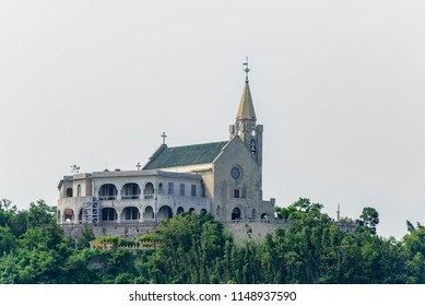 MACAU, CHINA - 2018/07/21 - The colonial era St Mary Hall sits atop Penha Hill,