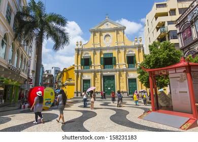 MACAU, CHINA - 25 SEPTEMBER 2013 - St Dominics Church on the historical Leal Senado Square, on 25 Sept 2013, in Macau, China.