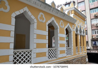 MACAU, CHINA- 4 APR, 2018: The Moorish Barracks is a historical barracks in Sao Loureno, Macau, China