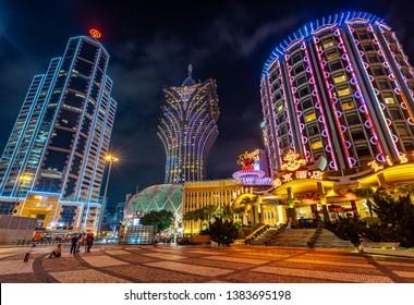 Macau, China - Apr 23, 2019: Lisboa and Grand Lisboa casinos illuminated at night