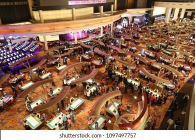 MACAU, CHINA, APRIL 15, 2016: unidentified crowded of people at the casino of Macau