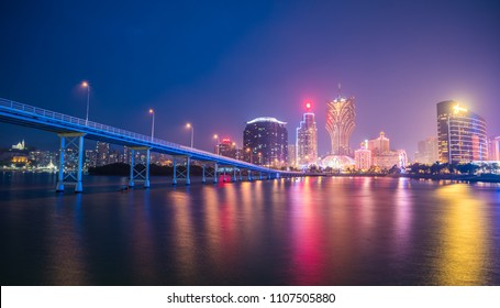 Macau, China - April, 27, 2018: Macau city skyline at night